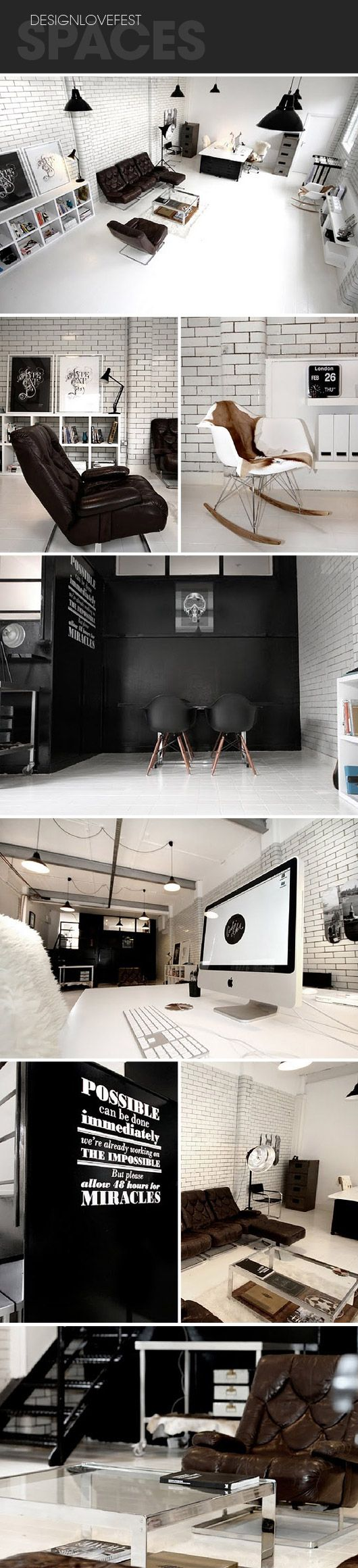 white floor: Studios Spaces, Offices Inspiration, Black And White, Offices Spaces, Subway Tile, Black White, Black Chairs, White Floors, Black Wall