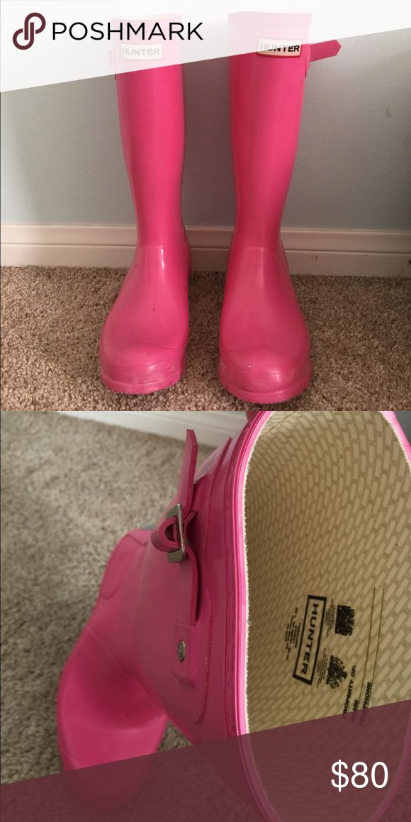 Pink Hunter rain boots Hardly ever worn pink Hunter rain boots! Super cute and fun. Hunter Boots Shoes Winter & Rain Boots