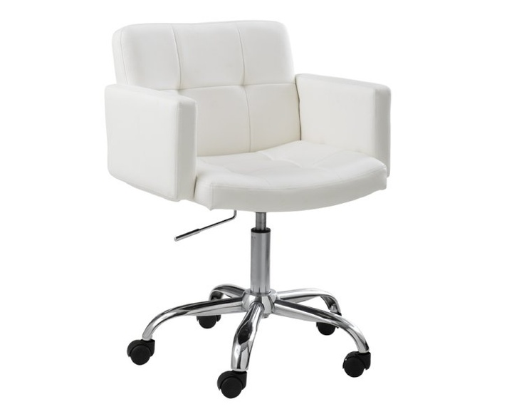 """This beautiful office chair with armrests is the perfect mix of style and comfort. Features a tufted back and seat with a chrome finished base and heavy duty castors. Stocked in white, brown, black and grey faux leather. Seat height adjusts from 19"""" to 23.5"""".: Style, White Office"""
