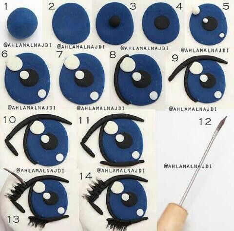 This is a great tutorial for a eye using gum paste (on cakes), or fondant (on cakes), or even paint on polymer clay!