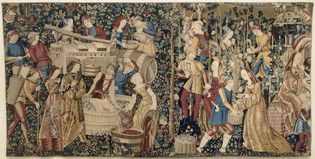 Les Vendanges, first quarter 16th century tapestry.