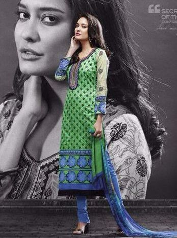 Mayur 546 - Green Color Pakistani Style Cotton Designer Suit