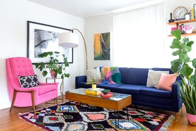 Mid Century Modern Furniture redone in bright colors.  Great idea! ~ Mary Wald's Place – House Tour: A Pink-Centric '70s-Style California Home…