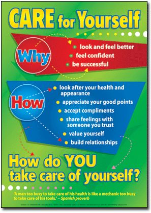 """Set of 6 Self-esteem Posters. Each one has a main point   followed by """"why"""" and """"how"""" to accomplish it."""