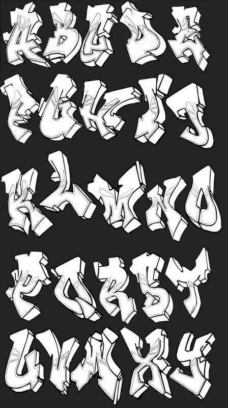 Graffiti Letters Styles | Example graffiti alphabet letters with shadows