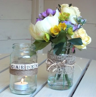 Handmade spring jam jar flowers  use this artificial arrangement at a wedding or use in your home great kitchen display www.butterflydaisy.co.uk