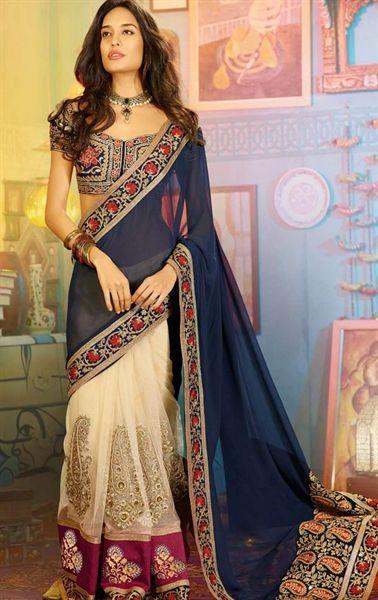 Dazzling Diva Cream and Navy Blue Saree with Designer Blouse