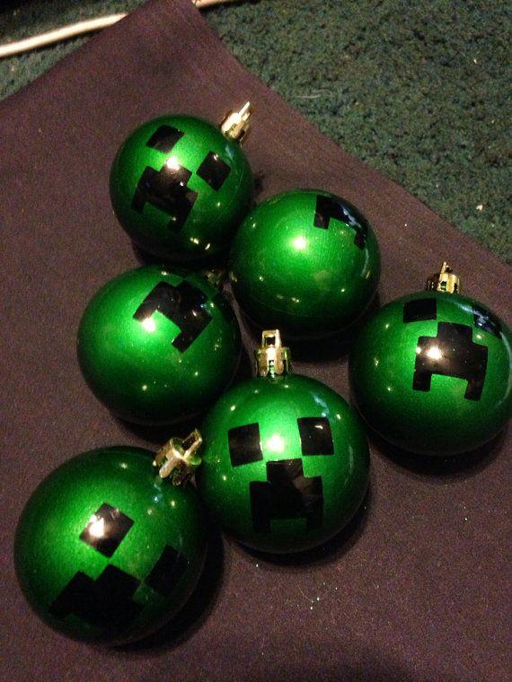 Set of 6 minecraft creeper christmas ornaments on Etsy, $5.99