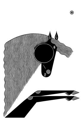 Maria Makeeva, plakát Černý kůň, diplomová práce 2014, Sítotisk, zdroj: Maria Makeeva