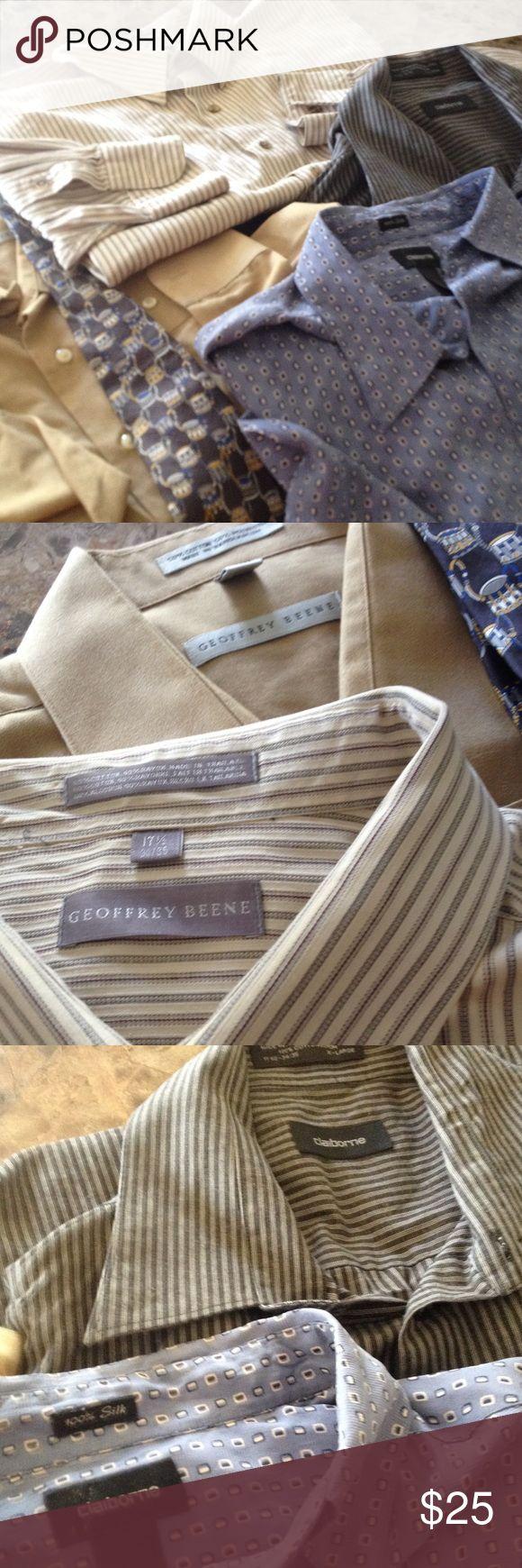 Shirt 17.5. 34/35.    3 dress shirts. Claiborne silk blue shirt is silk.  Tie is Geoffrey Beene silk. Made in Italy Geoffrey Beene Shirts Dress Shirts