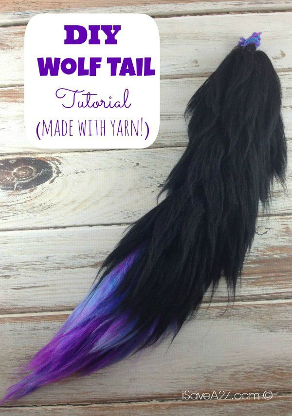 Costume Wolf Tail Tutorial instructions included - It's made with YARN!  Can you believe it?!  WOW! #anime #furry