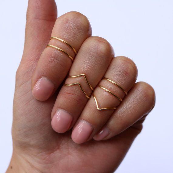 MIDI los anillos joyas Boho Chic sobre nudillo anillo conjunto bohemio de oro plata anillos joyería minimalista Simple alambre abrigo anillo de apilamiento