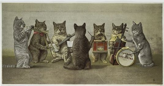 Cats playing musical instruments | Early Color Printing ...