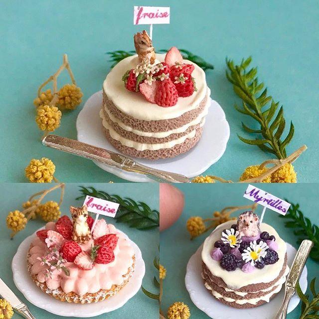 春爛漫!シマリスさんと、茶トラ猫、ハリネズミでそれぞれいちごやブルーベリーのケーキやタルトを作りました♪シマリスはヤフオク、その他はミンネにて販売中です。よろしければご覧ください♪小花を乗せるのにはまってます。笑 #ミニチュアフード#ミニチュア#ドールハウス#ハンドメイド#樹脂粘土#粘土#クレイ#クレイアート#アート#カップケーキ#タルト#ムース#miniaturefood #miniature#dollhouse #cupcakes #handmade #polymerclay #clay#フェイクフード#fakefood