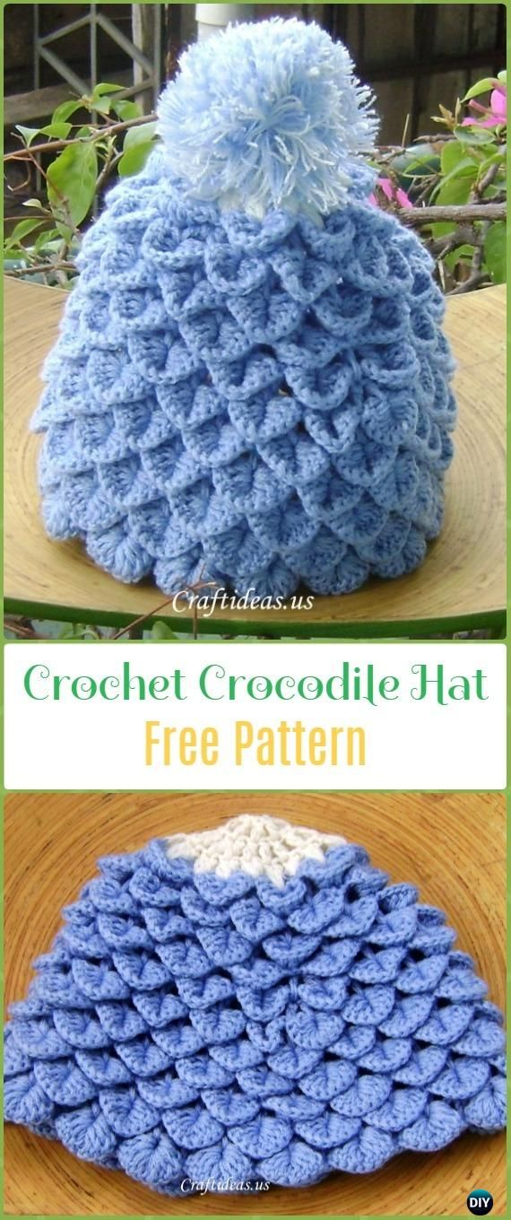 Crochet Crocodile Stitch Hat Free Pattern - Crochet Beanie Hat Free Patterns