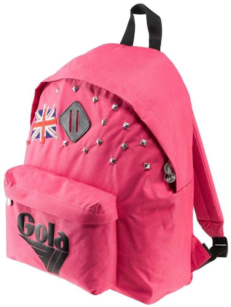 Zaino Gola in nylon, con schienale e spallacci imbottiti. Tasca frontale con logo gommato in colore a contrasto, borchie e bandiera inglese ricamata.    Prezzo: 57,50€    SHOP ONLINE: http://www.aw-lab.com/shop/marche/gola/zaino-gola-harlow-9995143