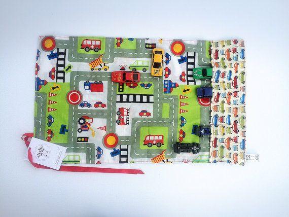 TOY CAR ROLL toy car storage toy car bag including 6 by Studio7t7