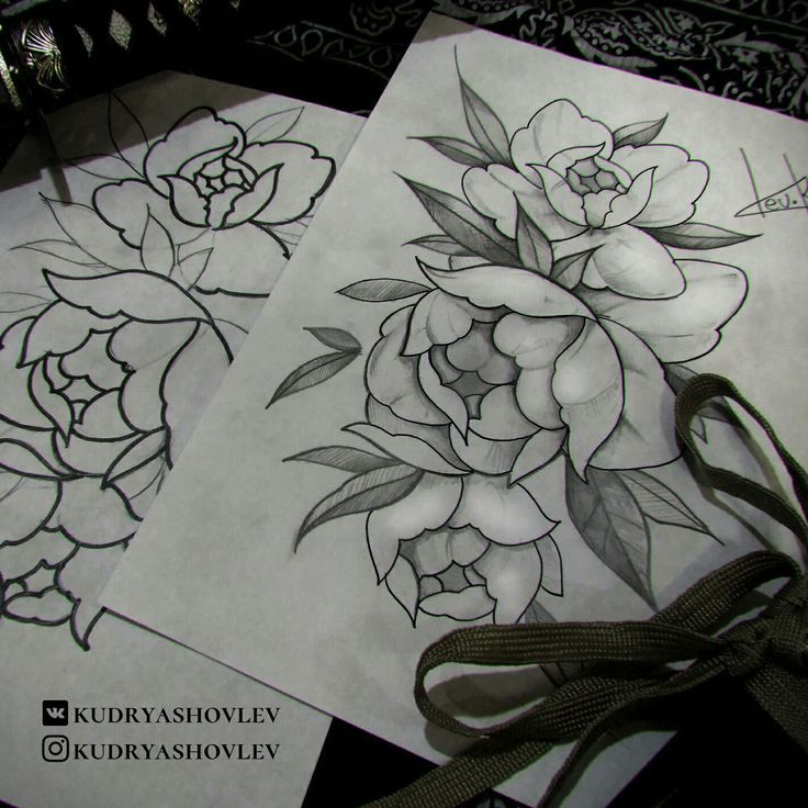 Flower roses piony tattoo sketch art ink