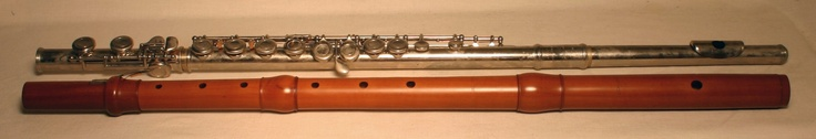 Baroque flute and modern flute