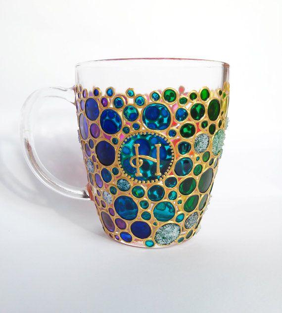 Sun catcher Initial Coffee Mug,  Multi Coloured Bubbles Mug,  Name  Coffee Mug, Custom Painted Coffee Mug, Personalized Mug
