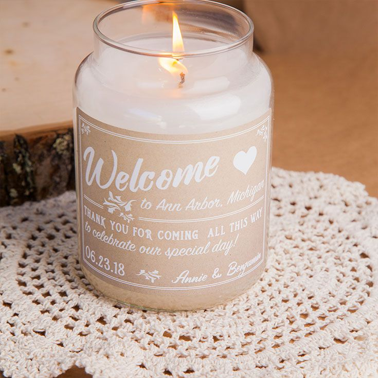 Decorate Your Wedding With Personalized Candles Or Give Out As Wedding Favors Wedding Candles We Candle Labels Wedding Welcome Gifts Candle Wedding Favors