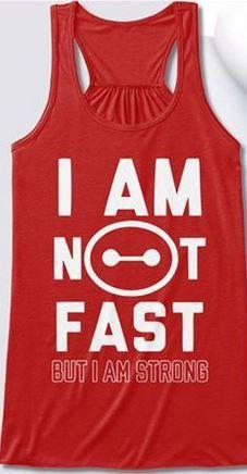 Baymax I am not fast but I'm strong Flowy racerback workout tank Run Disney