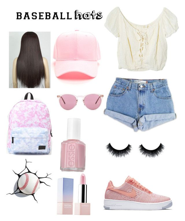 """""""Baseball hat"""" by emilymiro-i ❤ liked on Polyvore featuring NIKE, Levi's, Jens Pirate Booty, Vans, Oliver Peoples, Essie, Sephora Collection, baseballcap and baseballhats"""