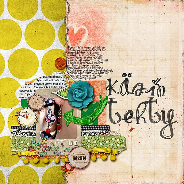Layout for Digi Dare #363 CD Muckosky: A Blessed Life, Lil' Puffies Arrows, Suzy-Q Alpha, Pink Reptile Designs: Stunning Stitches No.3, Splatter Brushes No.2, Valorie Wibbens: Woodlets Eat Cake, Homey; fonts: KG Drops Of Jupiter, You Are Loved