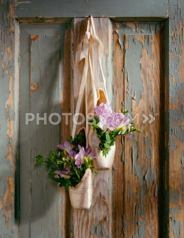Royalty-Free Images: Ballet Shoes Hanging On An Old Door With