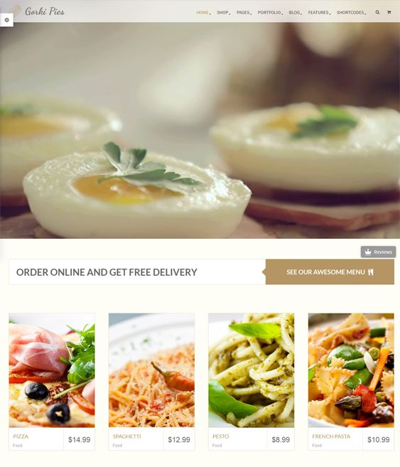 This restaurant theme for WordPress includes a responsive layout, WPML and WooCommerce support, mega menus, smart search, an advanced header, Visual Composer, SEO optimization, a premium slider, CSS3 pricing tables, and more.