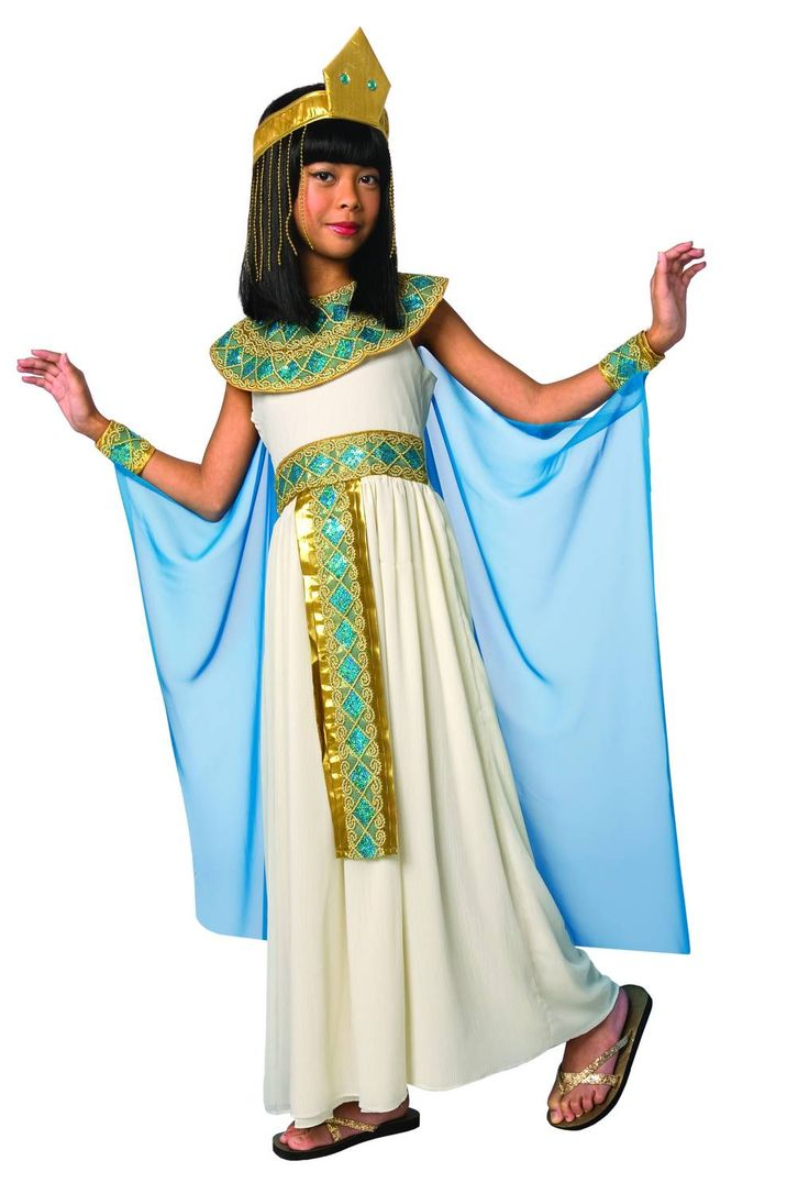 Egyptian queen costume for children: This Egyptian Queen costume for girl is composed of a white dress, sleeves and headband. This is the perfect costume for your themed parties.