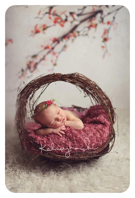 Rose Bud Newborn Crown: Newborn Photo Prop - Flower Girl, Wedding, Natural, Woodland, Tribal, and Organic Photography Props on Etsy, $12.50