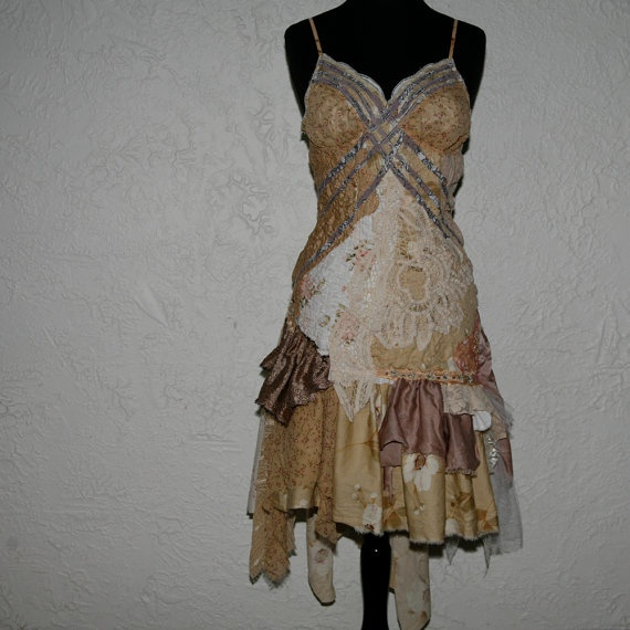 romantic upcycled tattered dress  sycamore by pondhopper on Etsy, $291.00