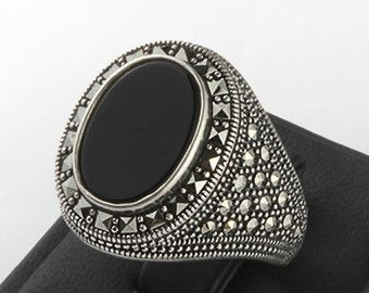 Onyx Ring for Men Men's Onyx Ring in 925 Sterling by ATAjewels