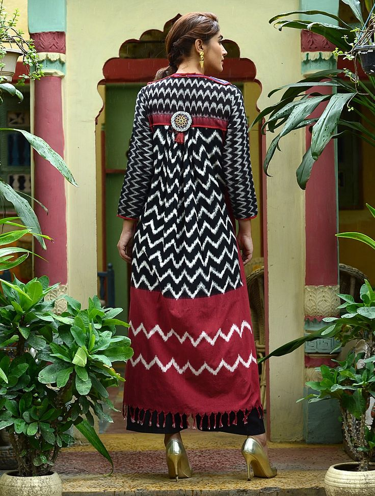 Buy Black Red White Blue Vintage Ikat Kurta with Embroidered Panel Cotton Beads…