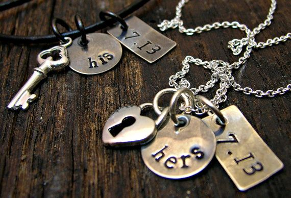 Personalized Jewelry - Hand Stamped His & Hers Sterling Silver Matching Couple Necklace Jewelry - Wedding, Engagement, Love, Key, Heart on Etsy, $68.00