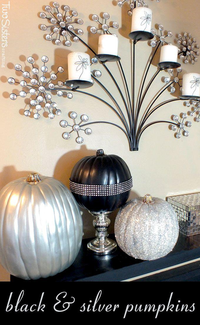 black and silver pumpkins fake pumpkinshalloween - Fake Halloween Pumpkins