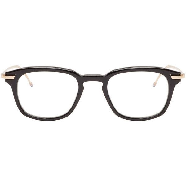 Thom Browne Black and Gold Acetate Glasses ($500) ❤ liked on Polyvore featuring accessories, eyewear, eyeglasses, black, thom browne, square glasses, square eyeglasses, striped glasses and thom browne glasses