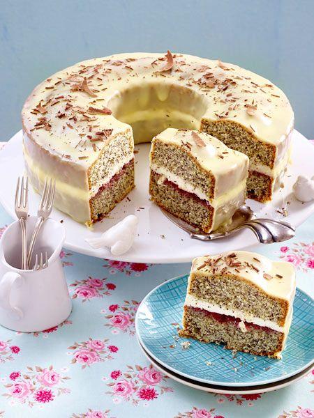 Mohnkuchen mit weißer Schokolade