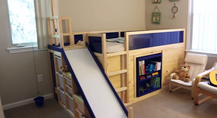 Ikea bed hack, complete with secret room that you get into by lifting a fake book on the bookshelf. YES!