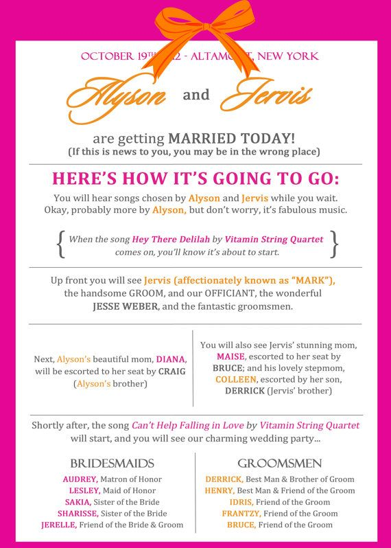 Fun Wedding Programs - Customizable DIGITAL FILE - I like this because a) It's funny and b) because it tells you EXACTLY what will happen.