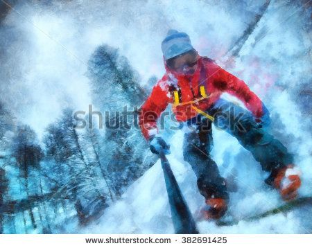 Snowboarder Take a selfie. Winter resort, snow forest.