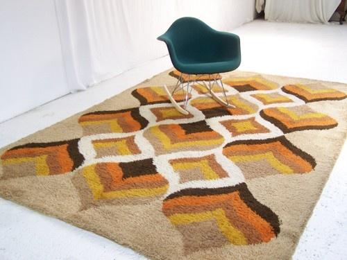 Large Vintage Retro Floor Rug Carpet Retro Abstract Chevron Panton Era 60s  70s