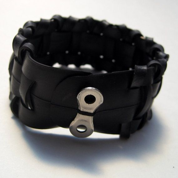Bike Tube Jewelry Woven Bracelet Recycled by TheRecycledBicycle