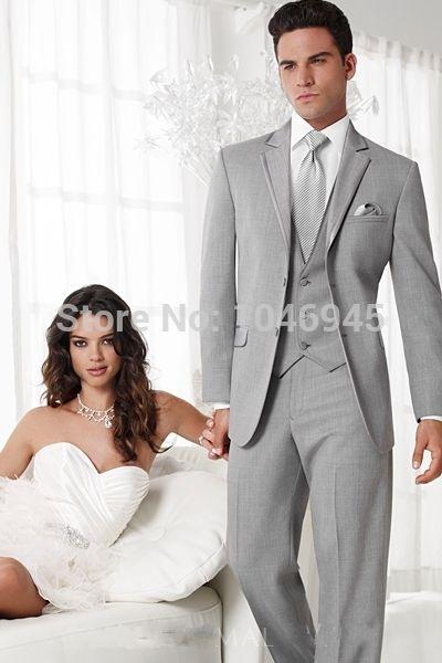 Купить товарS25 Хиты 2014 распродажа серый деловой костюм для мужчин две кнопки нотч свадьбы жених жених человек смокинг ( куртка + жилет + брюки + галстук ) в категории Костюмы для женихана AliExpress.             Добро пожаловать в мой магазин                  Новые мужские полный костюм жениха дизайнера/ Мужчин свадебн