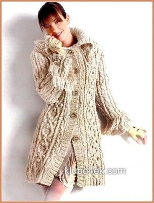 knitted coat with cables - free pattern