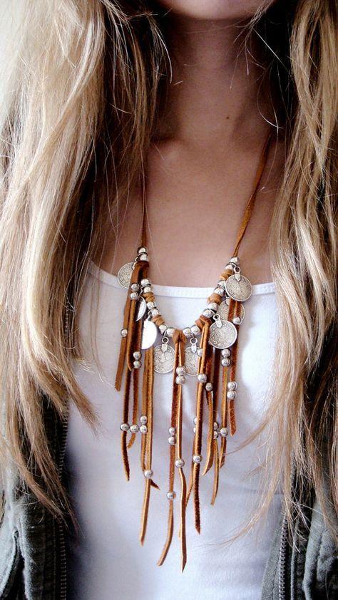 Leder Fransen Halskette Erklärung Halskette Münze Halskette Münze Charms Schmuck afghanischen Kuchi Tribal Boho Native American Navajo Leder Münze