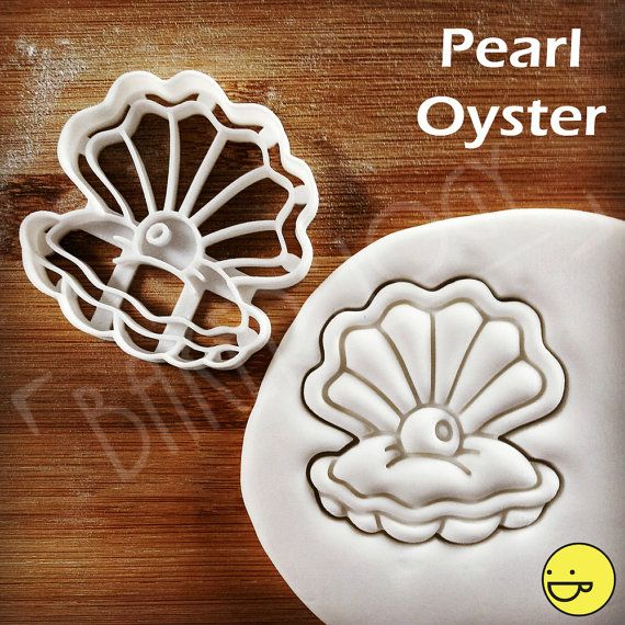 Pearl Oyster cookie cutter | Under the sea party themed biscuit cutters | make beautifully detailed and unique cookies | one of a kind OOAK