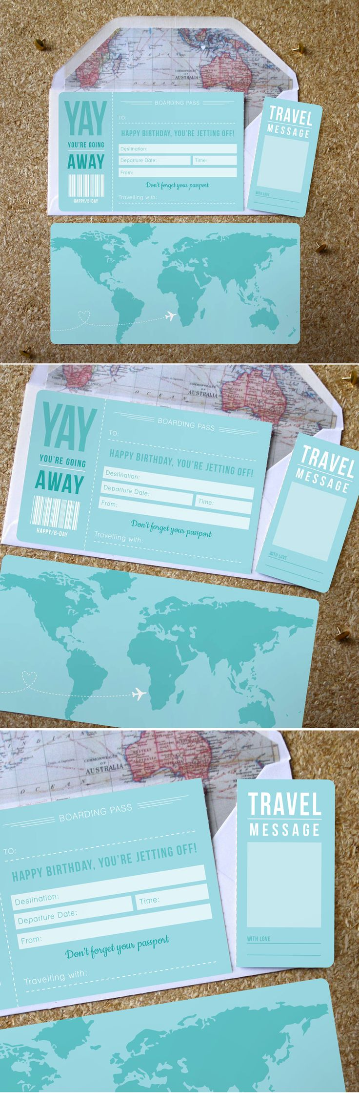 A great way to announce your surprise trip away for that someone special.  This is a perfect additional to an abroad gift, a great way to announce your surprise trip away. This ticket style birthday card is printed onto 400gsm Silk stock and features a perforated travel message card so that special someone can keep it forever. #birthdayboardingpass #yayyou'regoingaway #surprisetrip #happybirthday #ticket #ticketcard #tearofmessage #personal #map