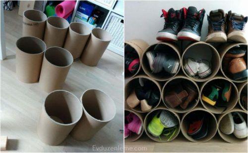 Karton borulardan kendinize bir ayakkabılık yapabilirsiniz.
